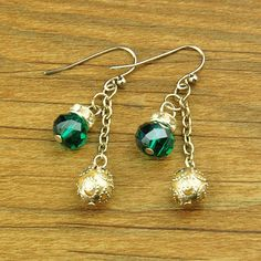 Fashion Glass Earrings, with Brass Rhinestone Beads, Iron Chain and Brass Earring Hooks, Teal