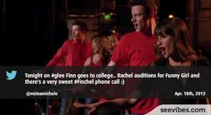 April 18th, 2013: A new Glee episode with lots of emotions, is Rachel going to get the role in Funny Girl? Many fans have retweeted the post in Canada - #Seevibes #TopRetweet #Twitter #Glee - https://twitter.com/RachieSkarsten/status/324724356854976512