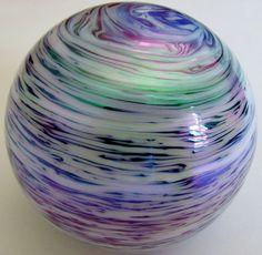 Iridescent pearl-swirl art-glass paperweight