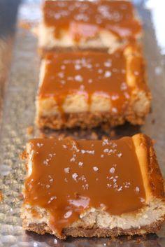 Fleur de Sel Salted Dulce De Leche Caramel Cheesecake Bars