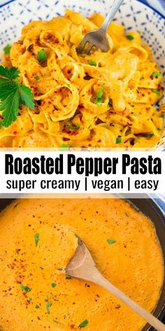 This vegan roasted red pepper pasta makes such a delicious vegan dinner! It's the ultimate vegan comfort food! Find more vegan recipes at veganheaven.org! #vegan #veganpasta #pasta #pastarecipe
