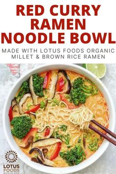 This easy ramen recipe will get vegan comfort food on your table in less than 30 minutes. The Thai red curry paste puts a twist on this traditional Japanese dish and makes it both savory and spicy. #vegan #ramen Ramen Noodle Bowl, Ramen Noodle Recipes, Ramen Noodles, Soup Recipes, Vegetarian Recipes, Cooking Recipes, Curry Noodles, Curry Ramen, Food Inc