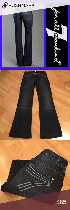 """7 for all mankind: DOJO - size 24 EXCELLENT condition Dojos!!!! These have grey """"7"""" stitching on back pockets:)! Inseam: 30.25, Rise: 7"""", Leg opening: 21"""". They measure 14"""" across the waist when laying flat. Material 98% cotton, 2% spandex. 7 For All Mankind Jeans Flare & Wide Leg"""