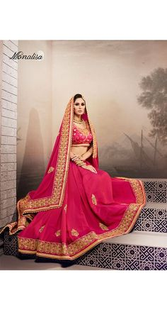 Designer Rani Color Georgette Saree for Wedding, Reception, Mahendi, Sangeet, Party