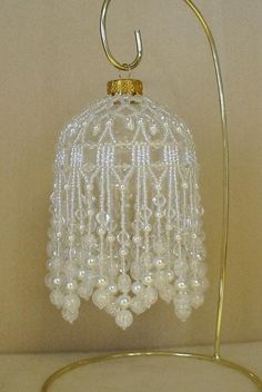 Beaded Fancy Fringed Ornament Cover - Beading Instructions - Snow Pearl on Etsy Beaded Christmas Ornaments, Christmas Deco, Handmade Christmas, Angel Ornaments, Christmas Balls, Beaded Ornament Covers, Bead Studio, Beaded Crafts, Pearl Crafts
