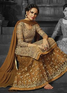 Classical Brown Embroidered Work Net Long Choli Lehenga