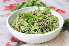 These noodles are livened with Vegan Protein Sunflower Seed Pesto, plus zucchini and peas, for a nutrient-packed bowl of pasta.