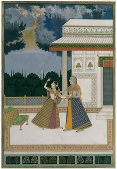 Madhumadhavi Ragini - lady brought in from storm. Opaque watercolour and gold on paper, Mughal style in Bengal, ca. Indian Traditional Paintings, Indian Paintings, Mughal Miniature Paintings, Watercolor Portrait Painting, Asian Flowers, Indian Art, Indian Music, Tribal Art, Islamic Art