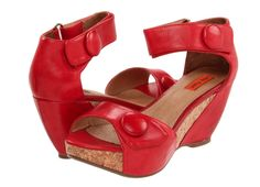 Red Leather Wedge Shoe