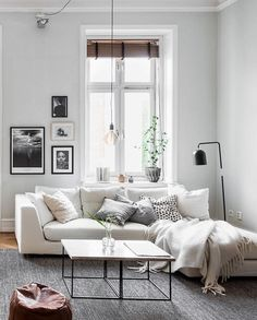 White and cool tones living room