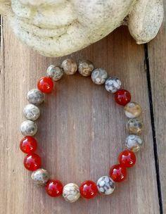 Gemstone jewellery designed by Driftwood Girl Stretch Bracelets, Beaded Bracelets, Girls Stretching, Jasper Stone, Carnelian, Gemstone Jewelry, Vibrant, Jewelry Design, Gemstones