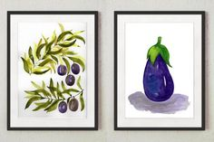 This is a set of 2 original watercolor paintings of an olive tree branch and an eggplant, hand painted by me, the artist. They are NOT a copy or a print, you receive 2 authentic and unique pieces of art! I painted these watercolors with extra fine watercolor paints on thick, texturized watercolor Watercolor Water, Watercolor Art Paintings, Watercolor Leaves, Abstract Watercolor, Original Paintings, Watercolors, Purple Wall Art, Colorful Wall Art, Floral Wall Art