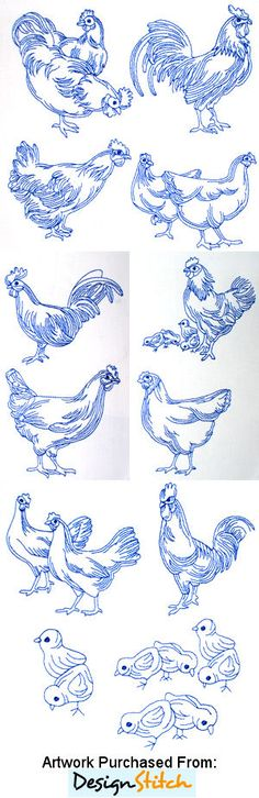 The Country Needle Embroidery Designs® Realistic Bluework Roosters & Hens 02 - Realistic Bluework Roosters & Hens 02 & hoops Embroidery Designs, Embroidery Applique, Cross Stitch Embroidery, Machine Embroidery, Chicken Crafts, Chicken Art, Chicken Outline, Rooster Art, Wood Burning Patterns
