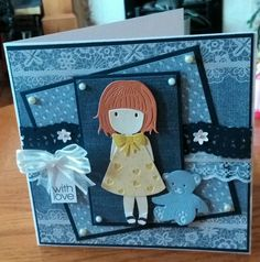 7x7 card. Used Craftwork Cards Chambray and Lace papers. Teddy is a die from Tattered Lace and little girl is an unbranded die from China.