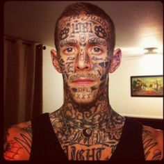 Male model has words tattooed all over his face tattoo for Tattoo model jobs