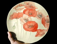 7 Poppies Poppies handmade Ceramic Watercolor by FaithAnnOriginals