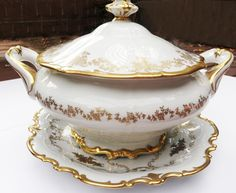 Weimar China Katharina 14051 Rd Soup Tureen w/ Lid Gold Floral & Heavy Trim #WeimarGermany