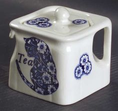 Burleigh Calico Blue Teapot and Lid.