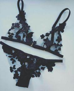 Black mesh floral bralette lingerie set