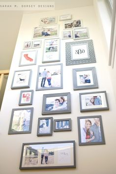 idea for a tall space above the stairs - and lots of pictures of the boys