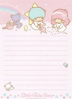 Little Twin Stars Cute Stationery Little Twin Stars, Little Star, Sanrio Characters, Cute Characters, Memo Notepad, Printable Scrapbook Paper, Cute Stationary, Cute Notes, Kawaii Stationery