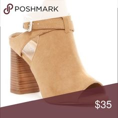Peep toe strappy Block Heels Stacked Block Heel with strap detail and buckle Size: 37 Abound Shoes Sandals