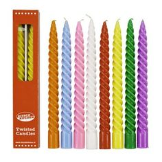 Beautiful twisted candles in bright colours for a colourful  Christmas or party by Kitsch Kitchen * The Pippa & Ike Show