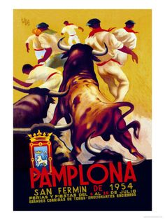 Buyenlarge Pamplona, San Fermin by Charles Dana Gibson Vintage Advertisement on Wrapped Canvas Size: 3 Cool Posters, Travel Posters, Vintage Ads, Vintage Posters, Vintage Travel, Vintage Style, San Fermin Pamplona, Canvas Frame, Canvas Art