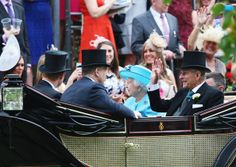Queen Elizabeth II and Prince Philip arrived for Ladies Day at Royal Ascot day 3 June 19, 2014