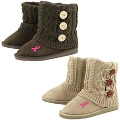 Our mid rise knit boots are as cute as they are cozy! A faux-suede exterior surrounds your feet within a warm fuzzy lining, topped off with a knit fold-over layer with cute button accents. A single pink ribbon on the foot of the boot displays the ca