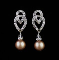 ART DECO Crystal and Pearl Wedding Earrings, Champagne Almond Pearl Bridal Earrings, Rhinestone Wedding Earrings, KIM