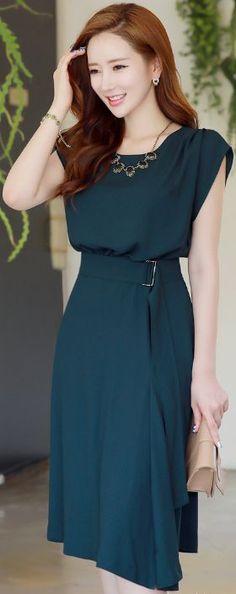 StyleOnme_Romantic Belted Flared Dress #summerlook #dress #feminine #elegant #koreanfashion #kstyle #seoul