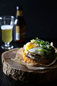 open-faced parmesan chicken burger with balsamic caesar dressing