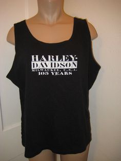 Harley Davidson XXL black tank top 105 yrs house of Harley logo knit top cotton | Clothing, Shoes & Accessories, Women's Clothing, Tops & Blouses | eBay!