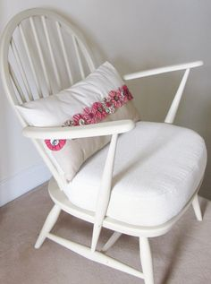 Vintage Ercol chair in creamy white