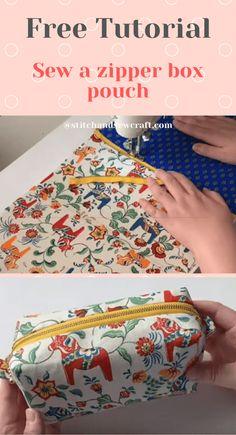 Free Tutorial - Sew a zipper box pouch - Stitch & Sew Craft Bag Pattern Free, Pouch Pattern, Bag Patterns To Sew, Sewing Patterns, Diy Pouch No Zipper, Zipper Bags, Diy Pouch Tutorial, Zipper Tutorial, Pencil Case Tutorial
