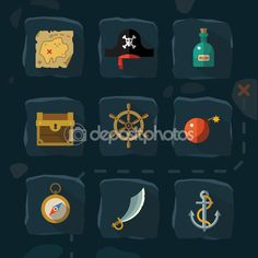 Vector color flat  icons set and illustrations pirate adventure — стоковая иллюстрация #74484581