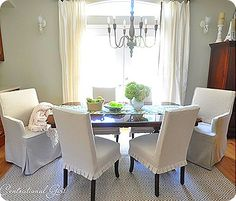 parsons chair slipcovers. short & pleated for an informal dining space. just girly enough.