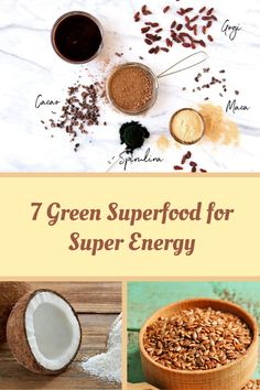 7 Green Superfood for Super Energy - Superfoodliving.com High Energy Foods, Cacao Chocolate, Green Superfood, Raw Coconut, Energy Bars, Protein Sources, How To Increase Energy, Health And Wellbeing, Vitamins And Minerals