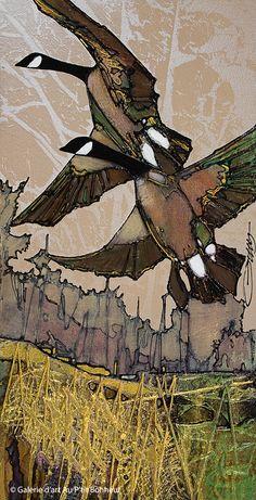 Jean-Pierre Guay, 'À deux', x Wildlife Paintings, Wildlife Art, Animal Paintings, Rodin, Art Gallery, Batik Art, Space Painting, Bird Artwork, Contemporary Abstract Art