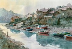 Beautiful Watercolor painting by Spanish artist Faustino Martin Gonzalez. Beautiful Sketches, Beautiful Artwork, Watercolor Landscape, Watercolour Painting, Watercolours, Landscape Photos, Landscape Art, Spanish Artists, Painting People