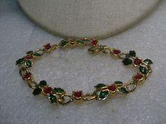 """Avon Enameled Christmas Bracelet, Holly & Ivy, Red  Rhinestones, 8.25"""" #Avon #linkedbracelet"""
