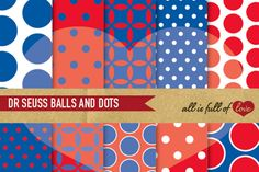 Dr Seuss Background Red Navy Blue Digital Papers Scrapbook Background Sheets :: Patterns with polka dots, quatrefoil and spots. You get 10 High Quality Sheets :: JPG files in Letter size with 300 dpi jpg, for perfect printing or digital use. These have so many uses, they are great for scrapbooking, crafts, party decor, DIY projects, blogs, stationery.