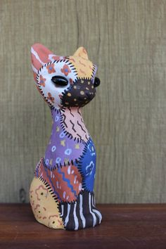 Pastel Patchwork Vintage Cat Figurine  Seated by PythagorasPlace, $13.00