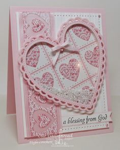 Quilted Hearts Shaker Card