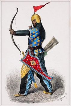 Medieval Persian warrior with weapons. Persia, Iran middle ages archer. персидский воин