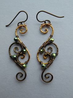 Wire Filigree Earrings -- Gold/Antique Brass Spiral Wire Wrapped Filigree Earrings, Green Faceted Beads