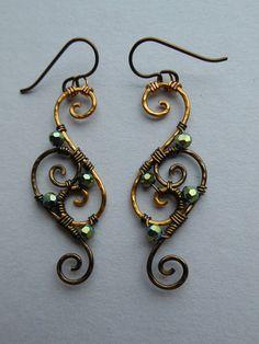 Filo orecchini filigrana  Oro/Antique Brass di silverowlcreations
