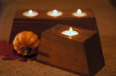 Reclaimed Wood Candle Holder - Rustic Tealight Holder