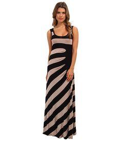 Calvin Klein Rayon Span Half Moon Maxi Black/Heather Camel - Zappos.com Free